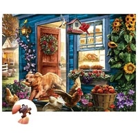 wooden toys jigsaw puzzle 1000 pieces interactive games for adults and children to decorate homes a dog who steals food