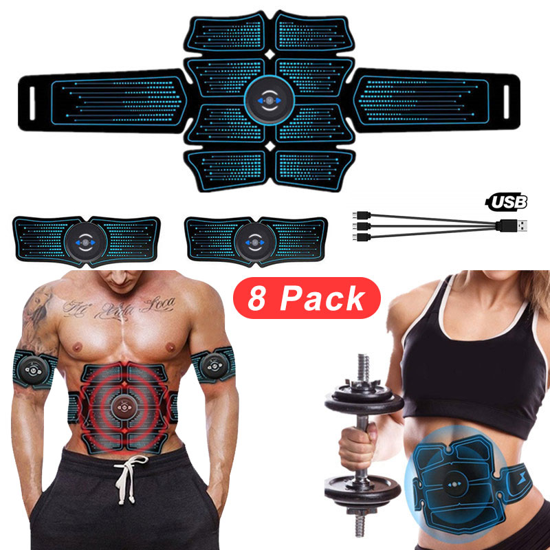 EMS Wireless Abdominal Muscle Stimulator USB Connect 8Pack Total ABS Hip Muscular Trainer Home Smart