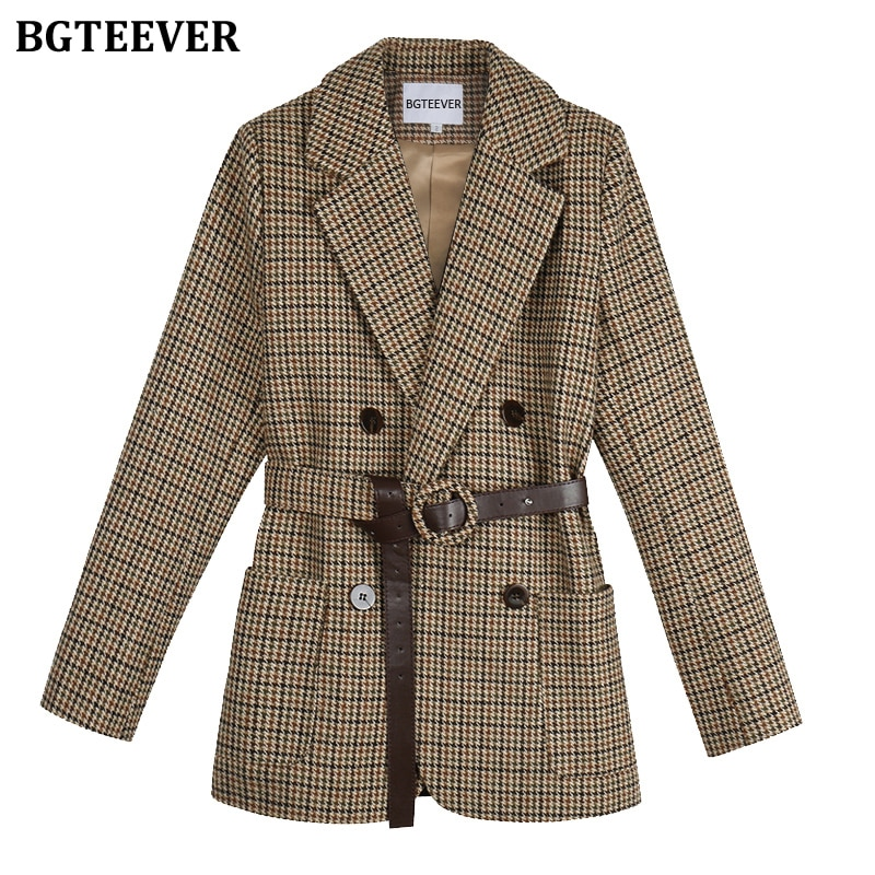 BGTEEVER Vintage Houndstooth Women Blazer Sashes Double-breasted Plaid Female Suit Jacket Long Sleev