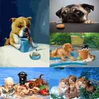 oil paint by numbers for adults children cute dogs paints by number frameless canvas painting kits 50x40cm diy gift home decor