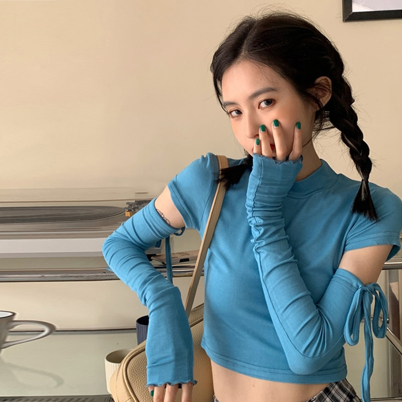 Spring Short Top Ins Popular Net Red Small Design Sense Niche Long Sleeve T-shirt Korean Style Chic