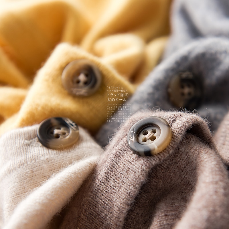 Basic Style Women 100% Wool Hood Collar Cardigan New Colors Womens Knitted Hoodie Solid Color Sweater Winter Spring Hotlist 2020