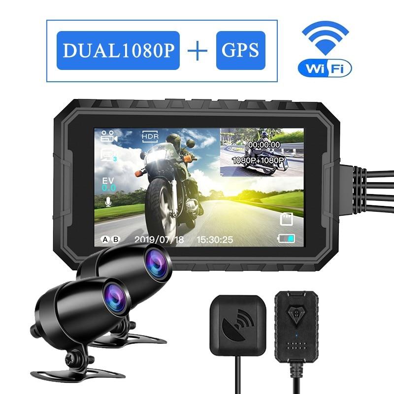 دراجة نارية كاميرا HD 1080P عدسة مزدوجة دراجة نارية مسجل فيديو مقاوم للماء للرؤية الليلية لتحديد المواقع واي فاي داش كام