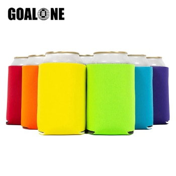 GOALONE 6Pcs/Set Beer Can Cooler Blank Neoprene Can Sleeves Collapsible Insulated Drink Cooler Holders for Beer Water Bottles