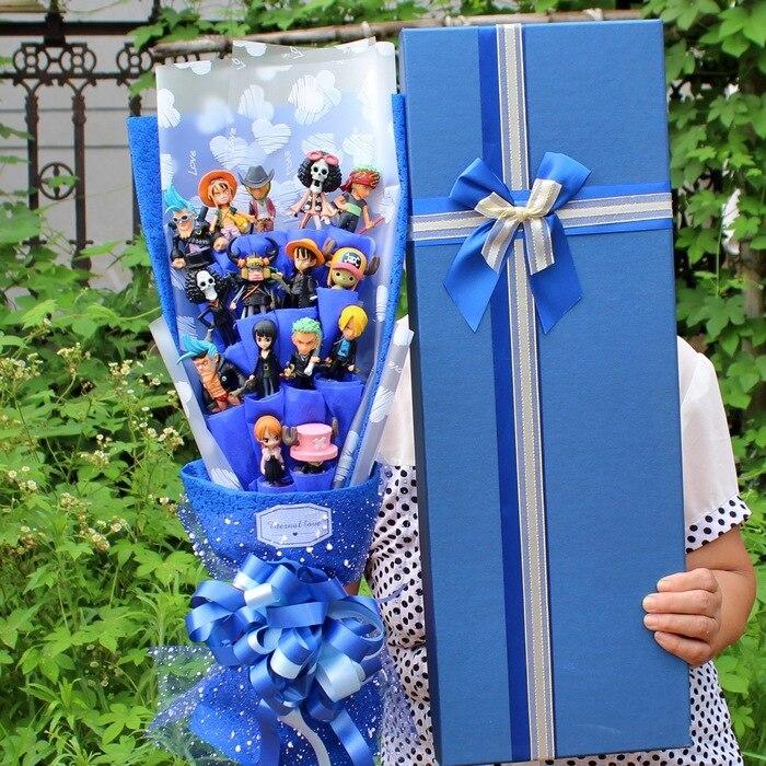 Ramo de muñeco de juguete de peluche de una pieza con forma de rey náutico, ramo de flores de PVC de Bob Esponja, fiesta de boda decoración para, sin caja