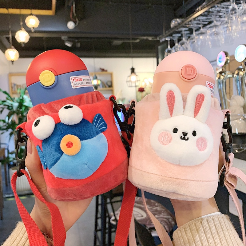 300ml Cute Cartoon Travel strap Portable Stainless Steel Vacuum Thermos Bottle Flask for Kids Children Boy Girl Creative Gifts