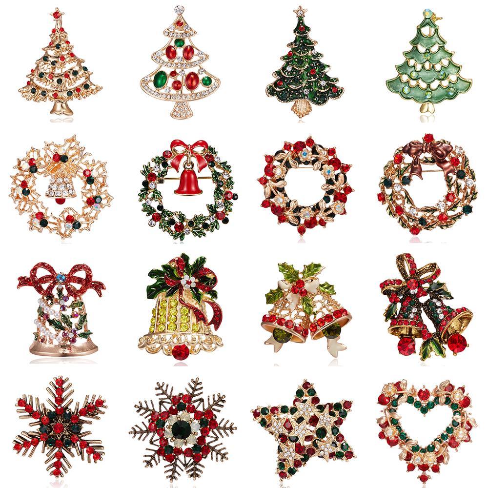 16 estilos corona árbol Navidad campanas copo de nieve broches delicado cristal brillante broche Pin Diamante de imitación para las mujeres regalos de navidad