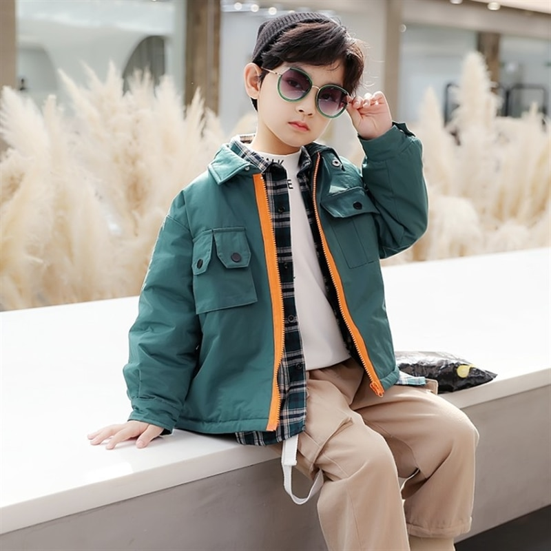Children's clothing boys winter clothing cotton-padded clothes padded down jacket medium and older children Korean style enlarge