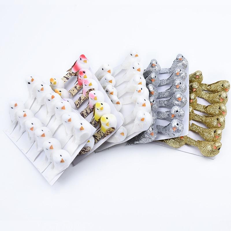 12pçs artesanato de pássaro dourado e prata, acessórios de decoração de casa, adesivo de presente de diy, plantas artificiais de geladeira