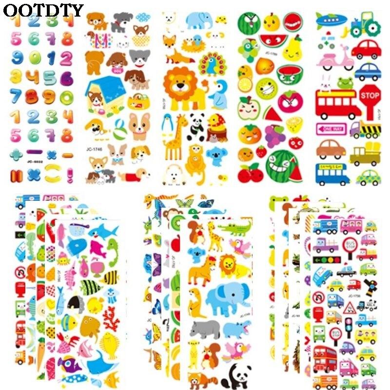 3d adesivos para crianças 500 + inchado adesivos variedade pacote para scrapbooking bullet journal número animal frutas carros e mais