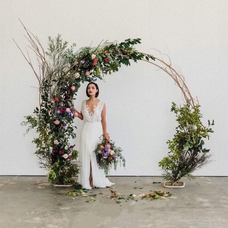في الهواء الطلق مزدوجة الزفاف قوس حلقة مستديرة عيد الميلاد خلفية حامل هالوين زينة لحفلات المنازل مرحلة خلفية دائرة قوس