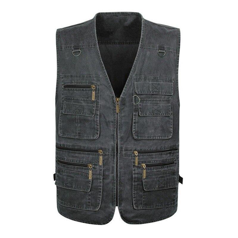 Лидер продаж 2021, новый мужской джинсовый жилет, повседневный жилет с несколькими карманами для фотосъемки, уличный мужской жилет 7XL