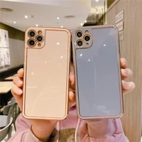 luxury candy color square bumper plating phone case for iphone 11 12 mini pro xs max xr x 7 8 plus se 2020 soft back cover coque