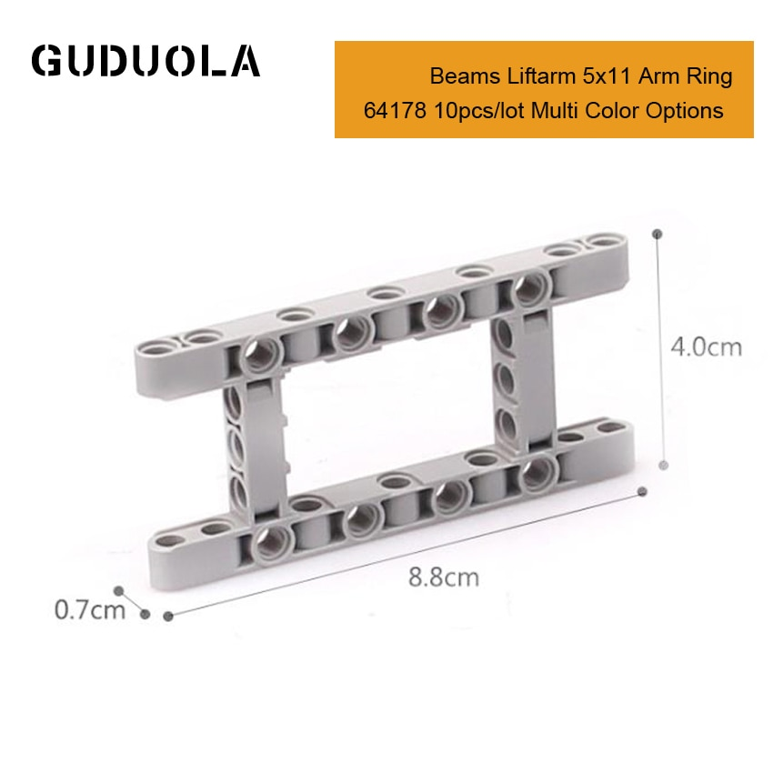 Guduola Parts 64178 Beams Liftarm 5x11 Arm Ring MOC Building Blocks Educational DIY Creative Toys for Kid 10pcs/lot