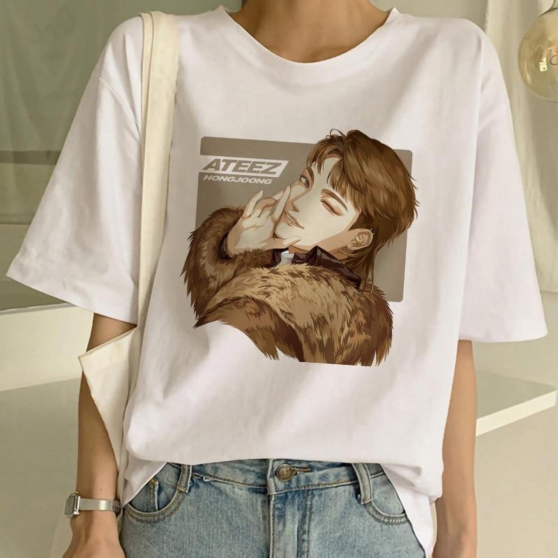 ATEEZ hombre grupo Harajuku estilo coreano T camisa estética ropa de las mujeres de verano de manga corta de moda E chica Top gótico