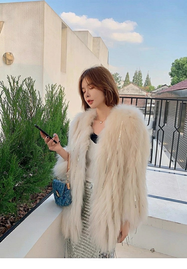 Autumn and Winter New Raccoon Knitted Fur Coat Women's Medium-Length Coat Fashionable For Young