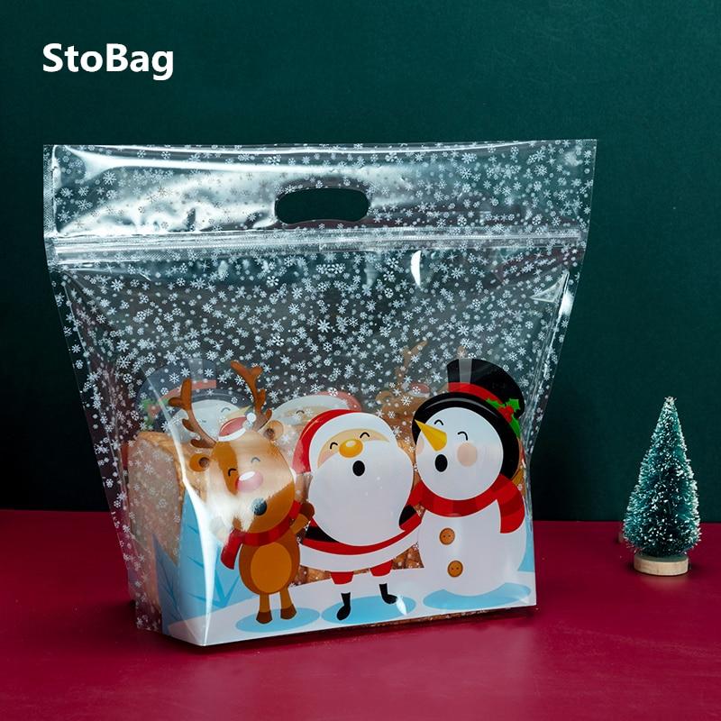 StoBag 50 قطعة جديد نعم عيد الميلاد الخبز التعبئة والتغليف أكياس Hnadle سانتا كلوز نخب إمدادات للمنزل اليدوية هدية