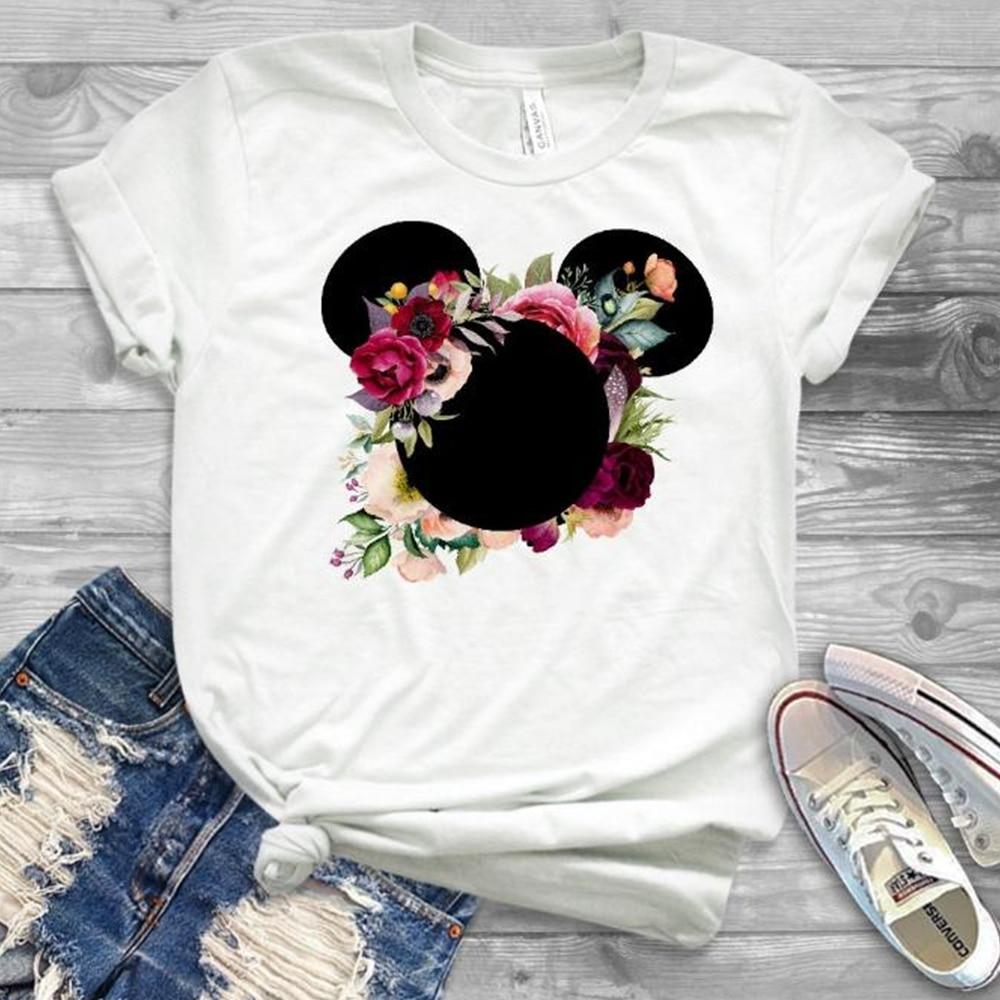 Women Fashion Graphic Flower Womens T-Shirt Cute Ear Tshirts Girl Laides Tumblr Tee Hipster Clothing Female T Shirt Pint Tees