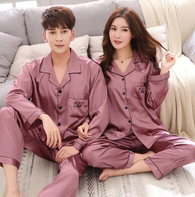 Роскошный +костюм атлас шелк пижамы комплекты пара одежда для сна семья пижама любовник ночь костюм мужчины 26% женщины повседневная дом одежда