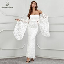 Sexy detachable sleeves lace Evening Dresses prom gowns Party dress vestidos de gala robe de soiree vintage dress women dress