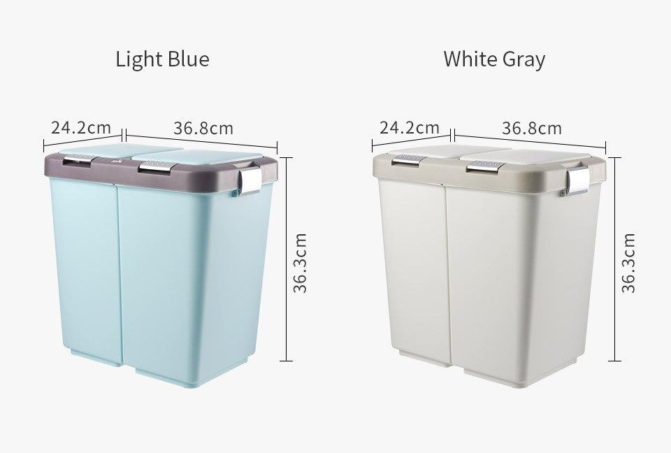 20L Rubbish Bin Sorting Trash Can Bathroom LivingRoom Kitchen Recycle Bin Household Dry & Wet Separation Pressing Type Waste Bin enlarge