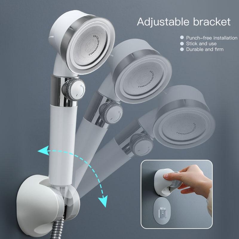 Pressurized Shower Head High Pressure Water Saving Perforated Free Bracket Hose Adjustable Bathroom Accessories Shower Set enlarge