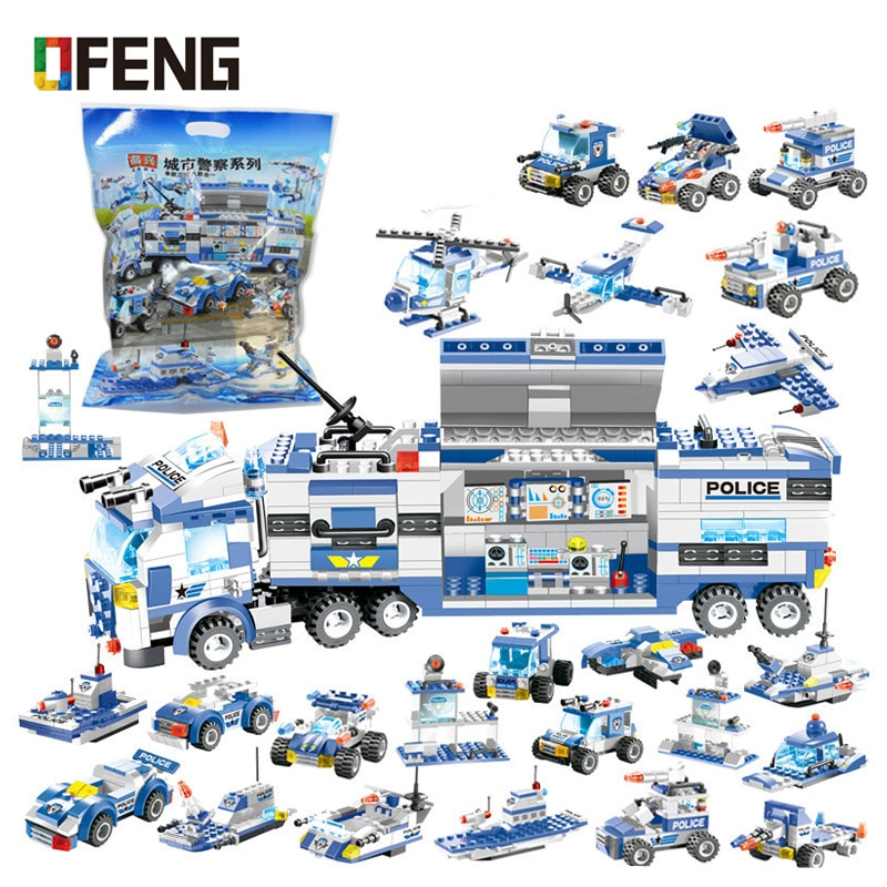 SWAT City Police Series Building Blocks Vehicle Helicopter Police Staction Bricks Compatible Buidling Kits for Children Gifts lepin 02081 city police the coast guard head quarters building blocks boat helicopter sea exploration ship rescue 60167 brick