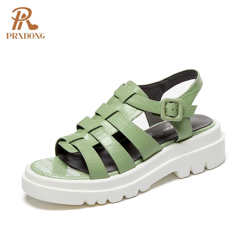 2021 New Summer Women Sandals Genuine Leather Casual Retro Rome Style Female Ladies Platform Buckle Strap Shoes Woman Sandals 39