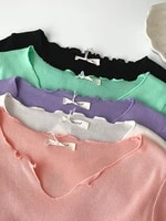 women rib knitted tees v neck short sleeve lettuce edge pastel color crop tops side ruched drawstring slim fit tops