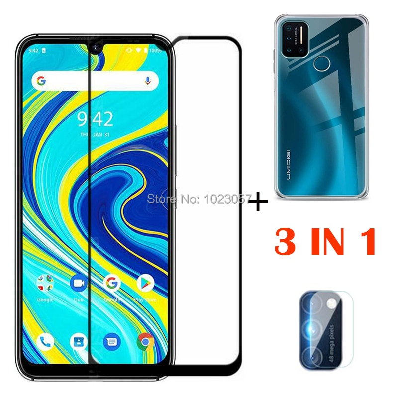3 in 1 Camera lens protective glass for UMIDIGI A7 Pro soft clear anti-shock phone case for UMIDIGI