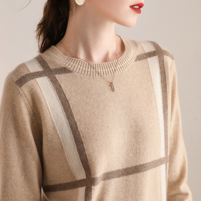 100% Cashmere O-neck Long Sleeves Women's Knitting Jumper Sweater Autumn Winter Warm Women Female Sweater Thickening Sweater enlarge