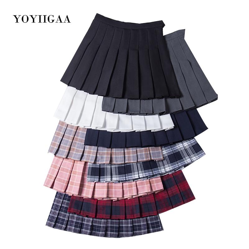 Fashion Women Skirt Preppy Style Plaid Skirts High Waist Chic Student Pleated Skirt Harajuku Uniforms Ladies Girls Dance Skirts