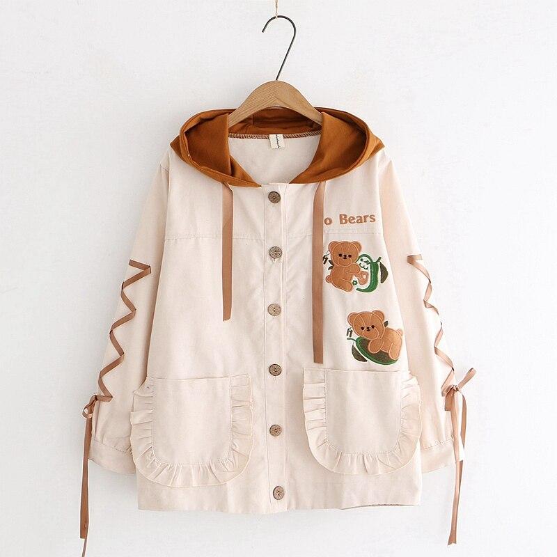سترة نسائية على الطراز الياباني ، سترة على الطريقة اليابانية ، لوليتا ، Kawaii ، مع جيوب مكشكشة ، معطف مخطط ، ملابس خارجية