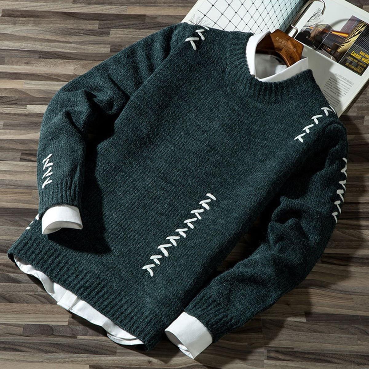 2020 Повседневная Мужская Осенняя Повседневная модная блок трикотажный джемпер свитер джемпер продажа мужской хлопковый свитер жилет