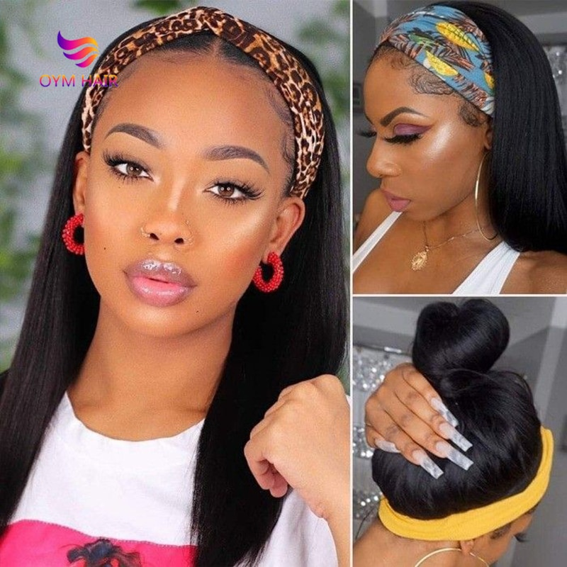 180 Density Headband Wig Human Hair Wigs 30 Inch Wig Glueless Brazilian Hair Wigs Remy  Human Hair Wigs for Black women