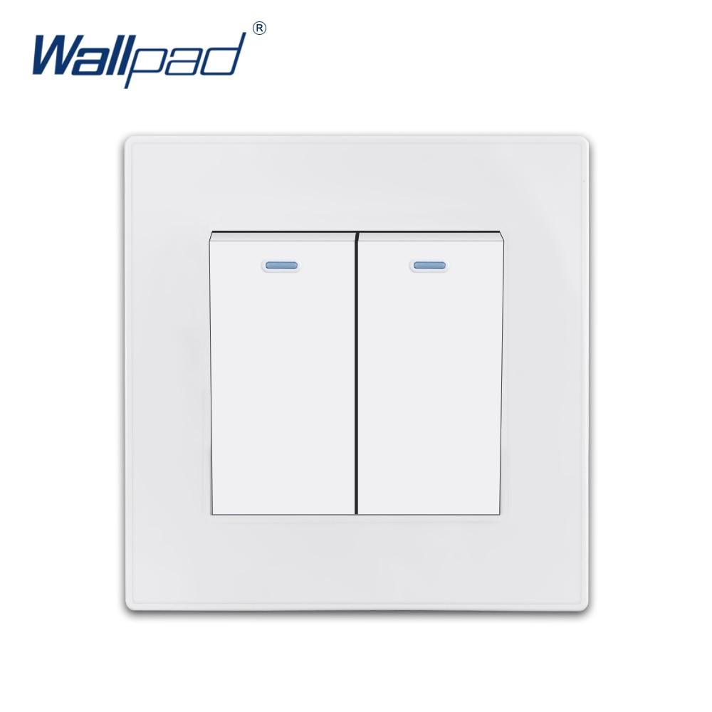 Gang 2 Redefinição Momentânea de Contato Wallpad Luxo Branco Wall Light Switch Rocker Switch 16A AC110 ~ 250V Painel PC obturador elétrico
