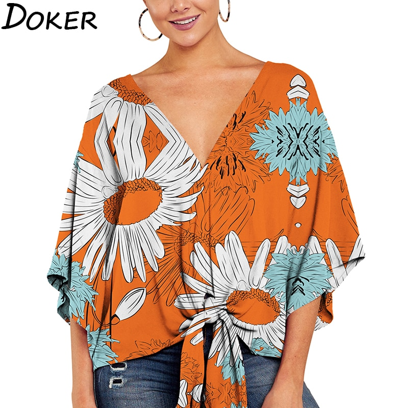 AliExpress - Summer Elegant Office Blouse Women Clothes V-neck 3/4 Sleeve Floral Print Streetwear Shirts Womens And Blouses Plus Size Tops