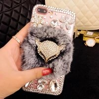 cute fox hair fluffy furry case for iphone x xr xs max 11 12 pro soft case cartoon warm phone case for iphone se 2020 7 8 plus