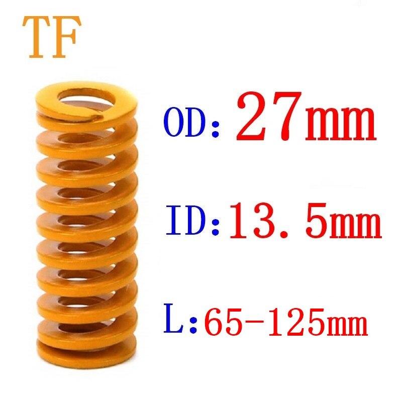 1 pces a carga amarela da luz da mola que carimba o molde da compressão morre diâmetro exterior 27mm do diâmetro interno 13.5mm comprimento 25-60mm da mola