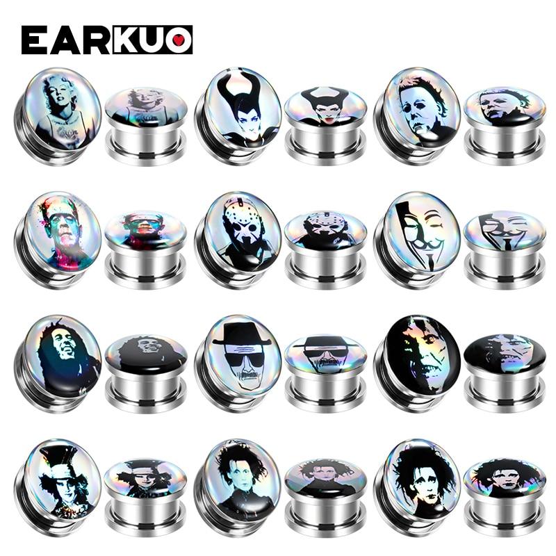 Серьги-расширители EARKUO из нержавеющей стали для пирсинга, ювелирные изделия для тела, измерительные приборы, 2 шт.