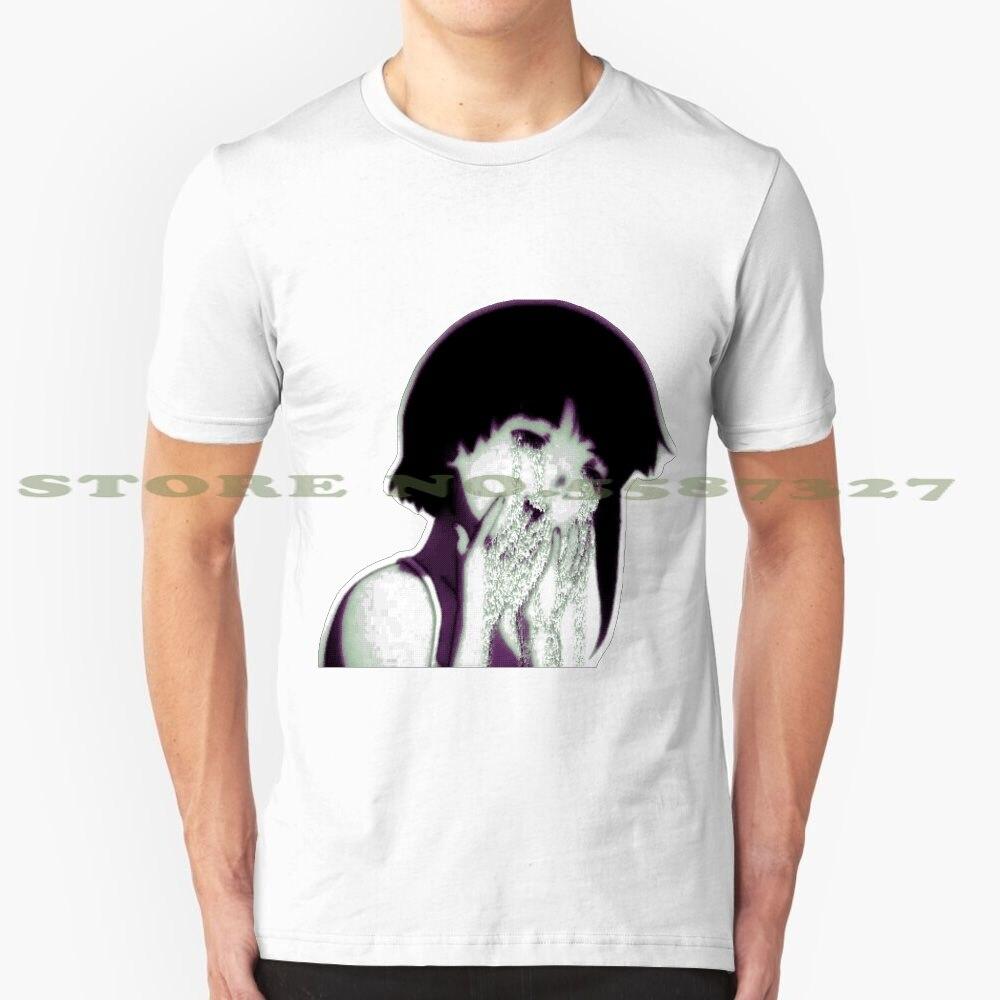 Data Leak moda Vintage camiseta camisetas Chica de Anime Lain llanto Glitch arte Glitch imagen de píxel Pixelart Pixel