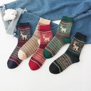 5Pairs/Lot ZTOET New Women Winter Socks Warm Wool High Quality Cotton Casual Pattern socks