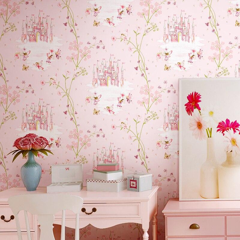 Alta qualidade do quarto das crianças papel de parede menina não-tecido azul rosa dos desenhos animados castelo quarto criança princesa rosa