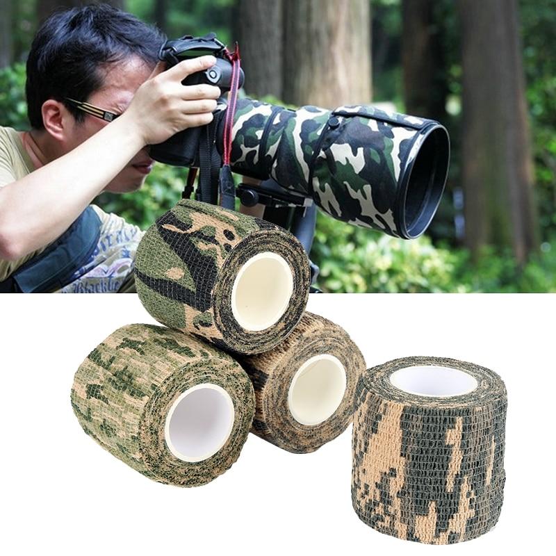 Selfesparadrapo estiramento não tecido fita tático cinto de camuflagem caça ao ar livre caça fita apanhador caminhadas caça ferramenta txtb1