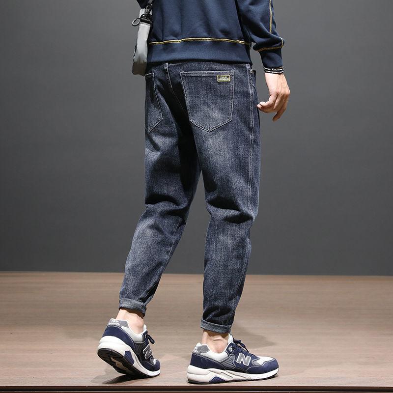 Джинсы мужские облегающие прямые осенние универсальные Молодежные трендовые повседневные мешковатые джинсы с прострочкой мужские модные ...