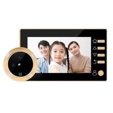 4,3 pulgadas HD Digital mirilla foto Video puerta visor Cámara gran angular puerta timbre PIR detección de movimiento timbre de seguridad del hogar