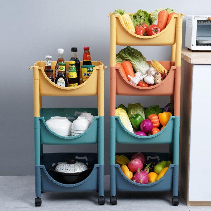 المطبخ متعددة الوظائف الطابق الجرف متعدد الطبقات الفاكهة والخضروات الجرف لوازم سلة سلة التخزين لعبة تخزين الرف