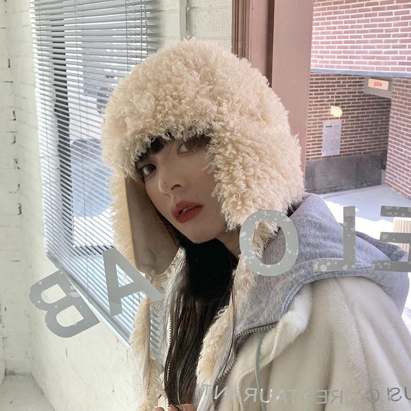 Women's Plush Hat Winter Internet Hot New All-Match Earflaps Toque Korean Cute Thermal Knitting Wool