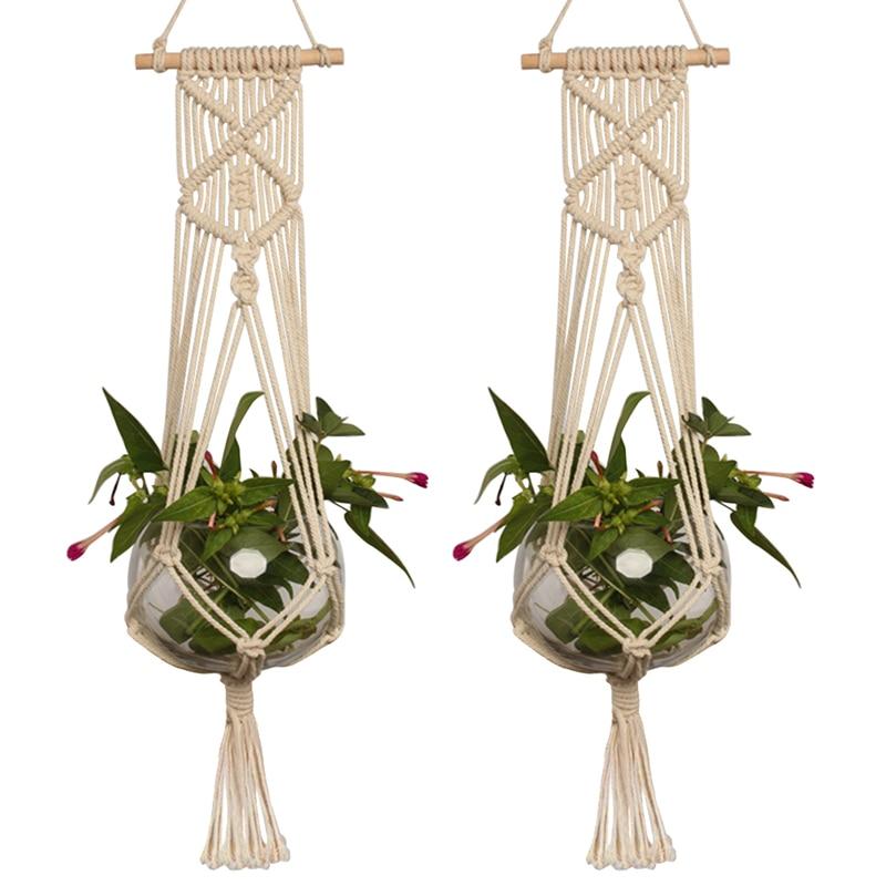 1pc velika košara za rastlinske obešalnike, ročno izdelana vrvna posoda, držalo iz fine konopljine vrvi