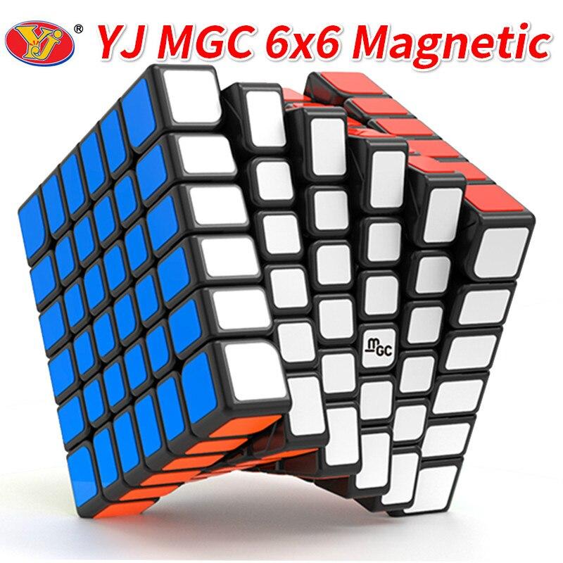 Новый YJ MGC 6x6 Магнитный черный скоростной куб YJ MGC M Stickerless 6x6x6 головоломка Yongjun Magico Кубики Игрушки для детей